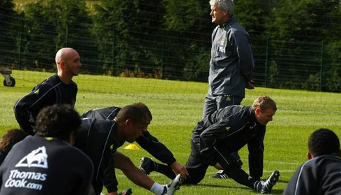 Manchester City players in training