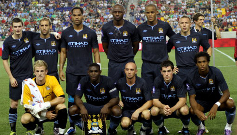 Manchester City v Sporting Lisbon (Top row L-R) Adam Johnson, Pablo Zabaleta, Joleon Lescott, Patrick Vieira, Vincent Kompany, Craig Bellamy (bottom row L-R) Joe Hart, Micah Richards, Stephen Ireland, Greg Cunningham, Joao Alves Jo