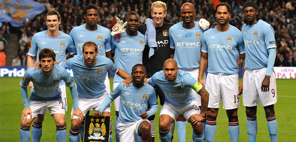 City players prior to kick off