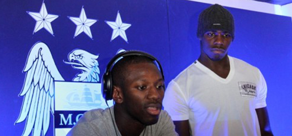 Shaun Wright-Phillips and Micah help promote City Club Store