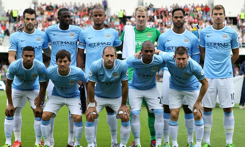 Manchester City's team line up against Arsenal