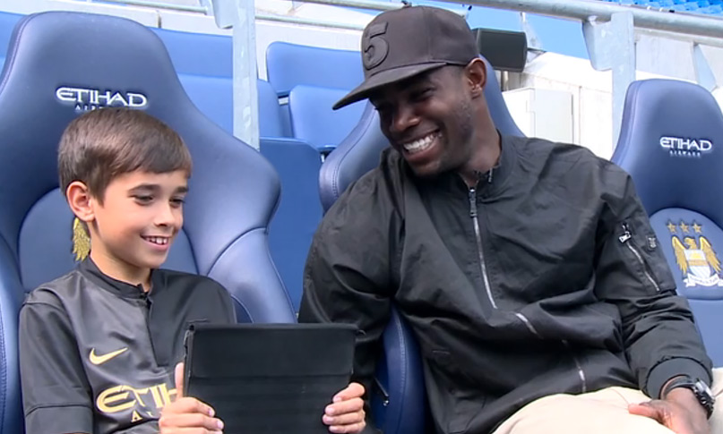 Micah was grilled by 10-year old City Kicks competition winner and out-and-out Manchester City fan Ethan
