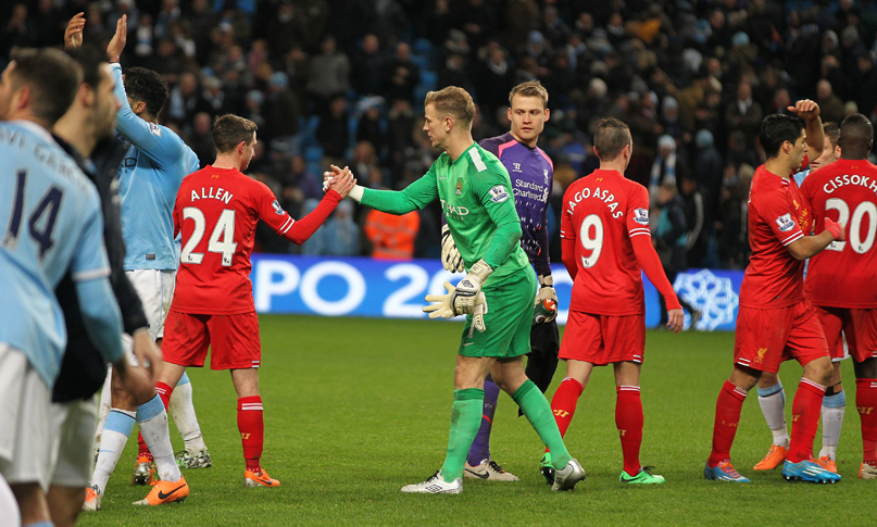 Joe Hart shakes hands with Liverpool players after game